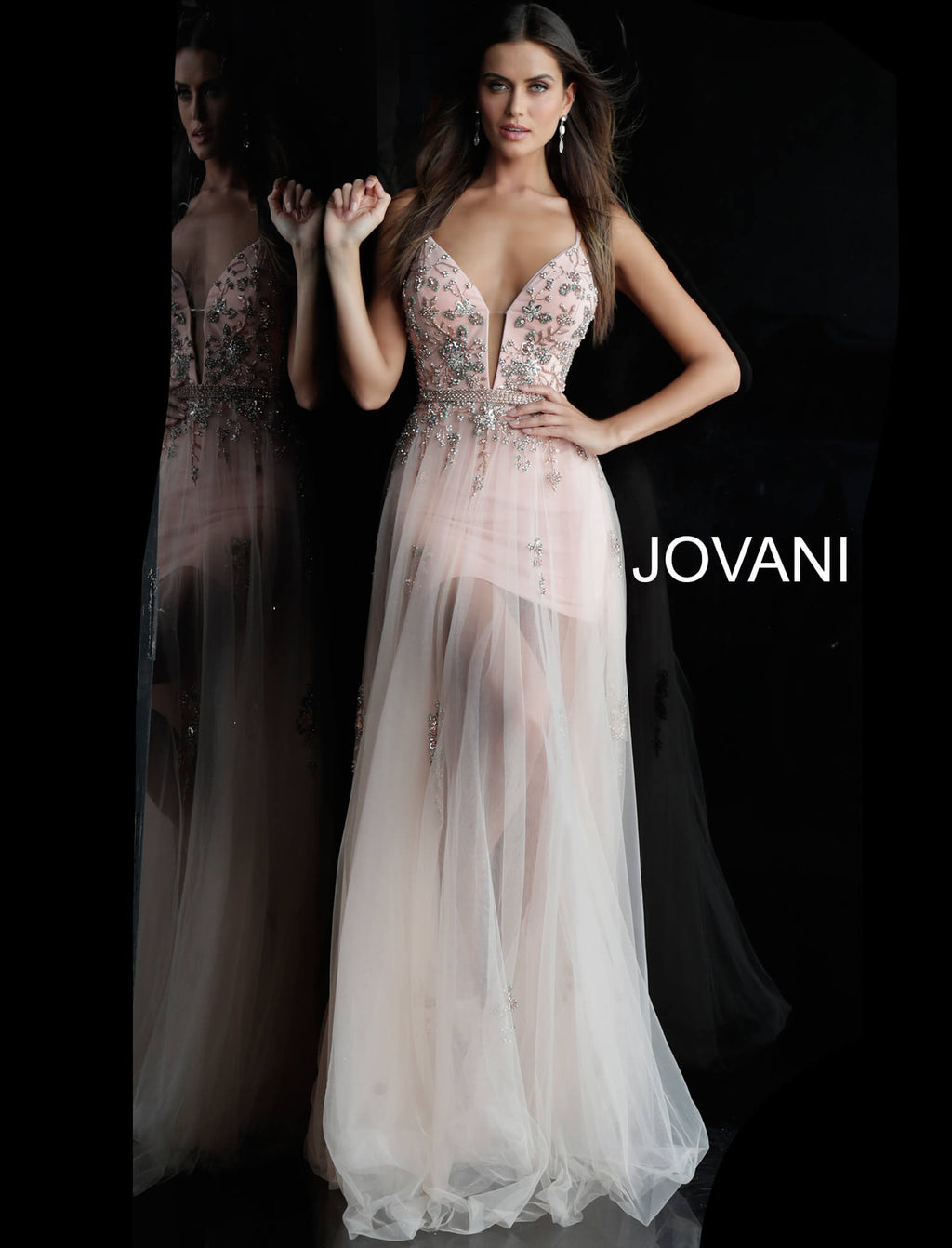 JOVANI 55621 Plunging Neckline Evening Dress - CYC Boutique