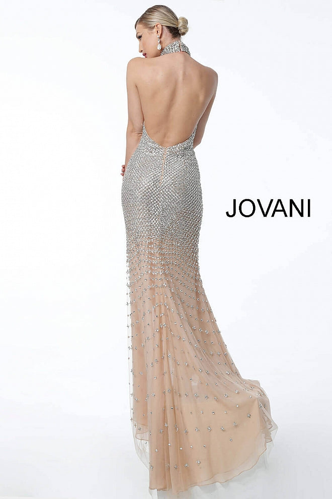 JOVANI 57018 Nude Silver Beaded High Neck Pageant Dress