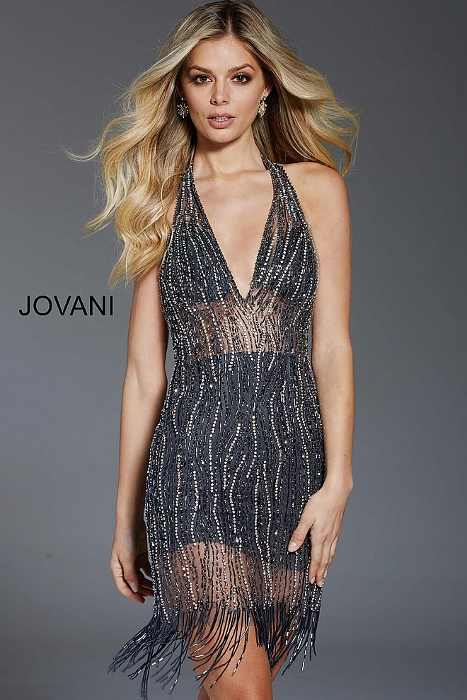 JOVANI 57836 Gunmetal Beaded Plunging Neckline Short Dress - CYC Boutique