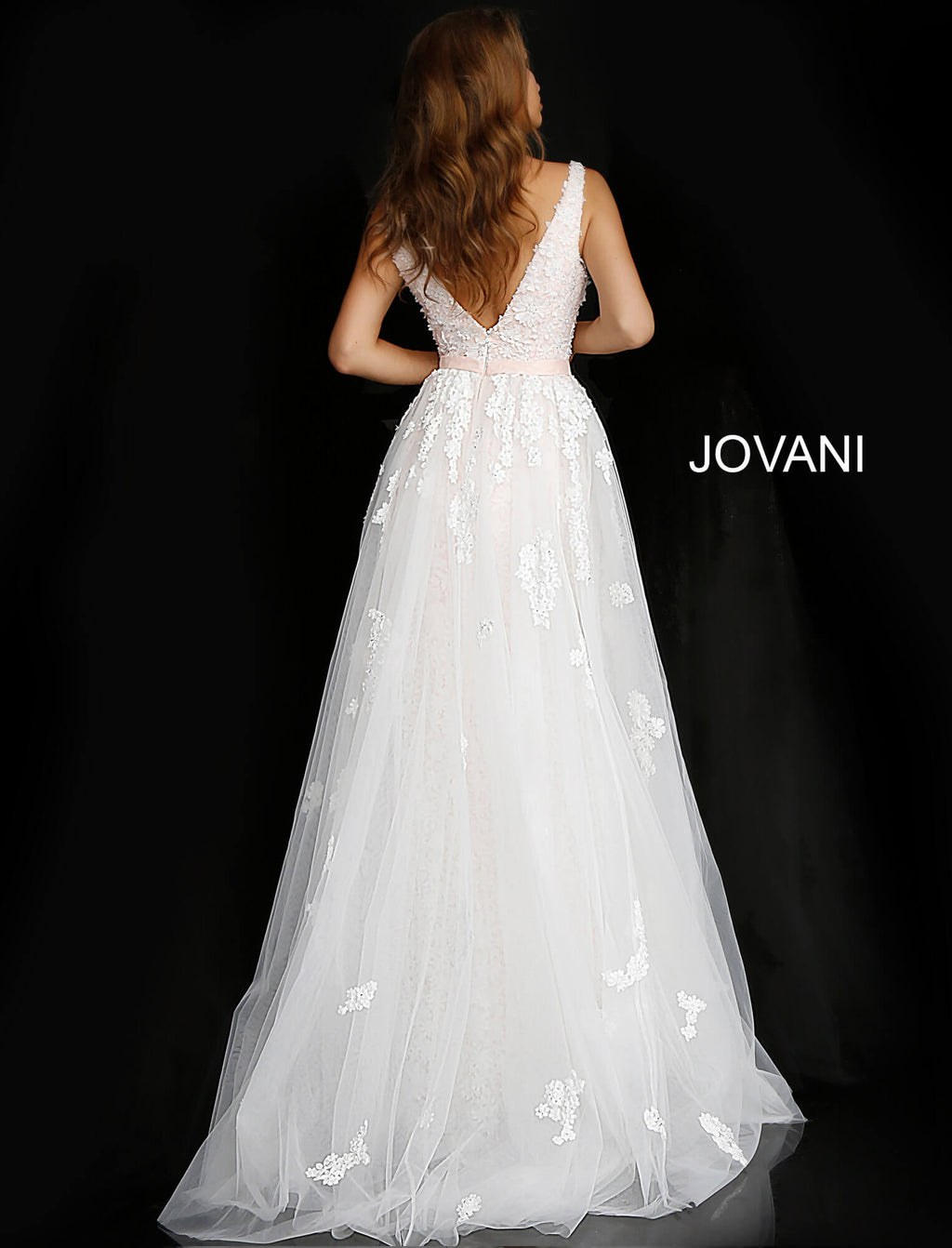 JOVANI 58563 Off White Blush Plunging Neckline Sleeveless Bridal Gown - CYC Boutique