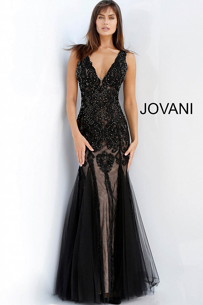 JOVANI 60749 Low V-Neck Embellished Evening Dress, Size 8 - CYC Boutique