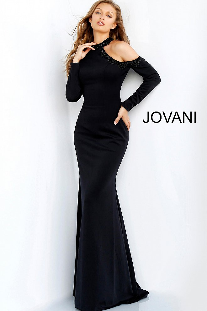 JOVANI 60937 Long Sleeve High Neck Evening Dress - CYC Boutique