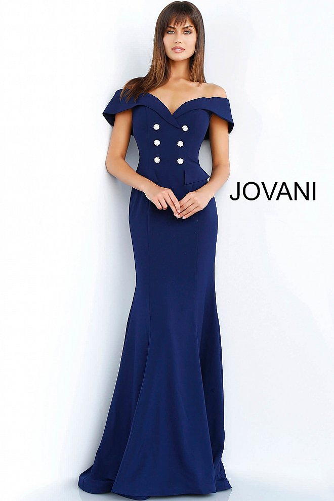 JOVANI 62047 Off Shoulder Button Embellished Evening Dress - CYC Boutique