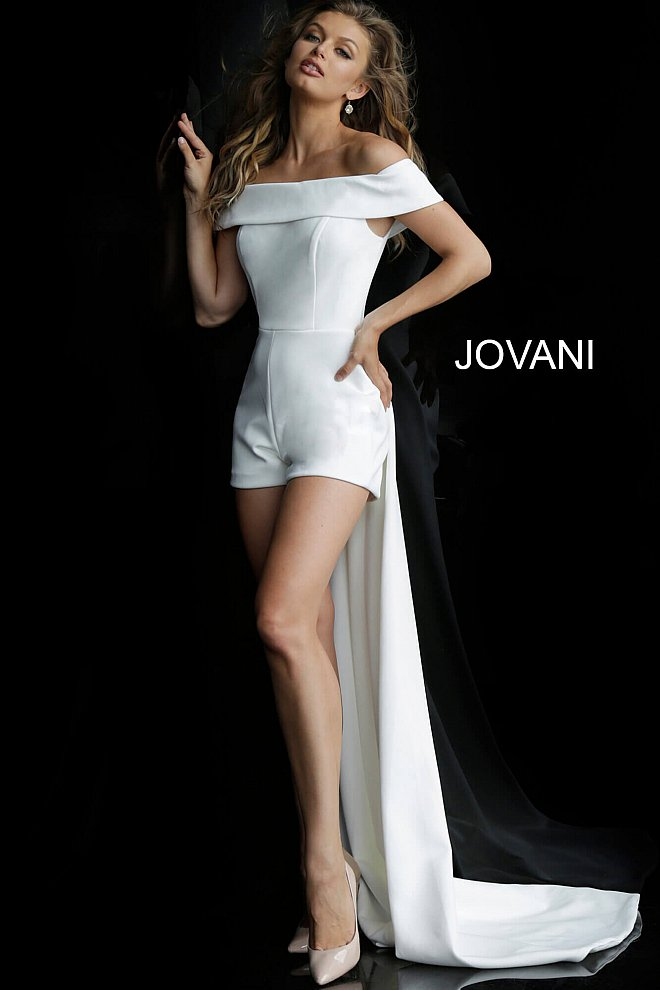 JOVANI 6228 Off the Shoulder Fitted Bridal Romper - CYC Boutique