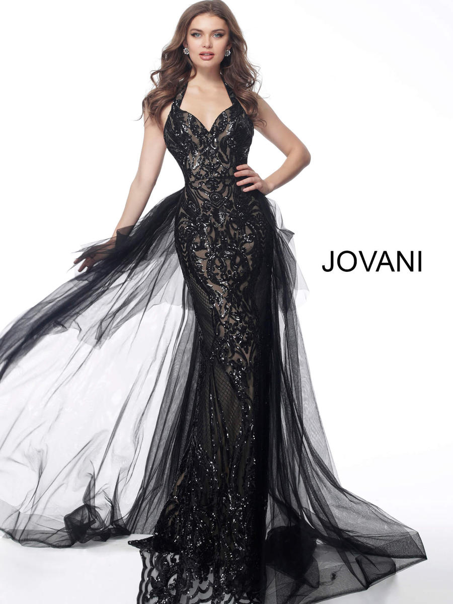 JOVANI 62635 Halter Neck Tulle Over skirt Evening Dress - CYC Boutique