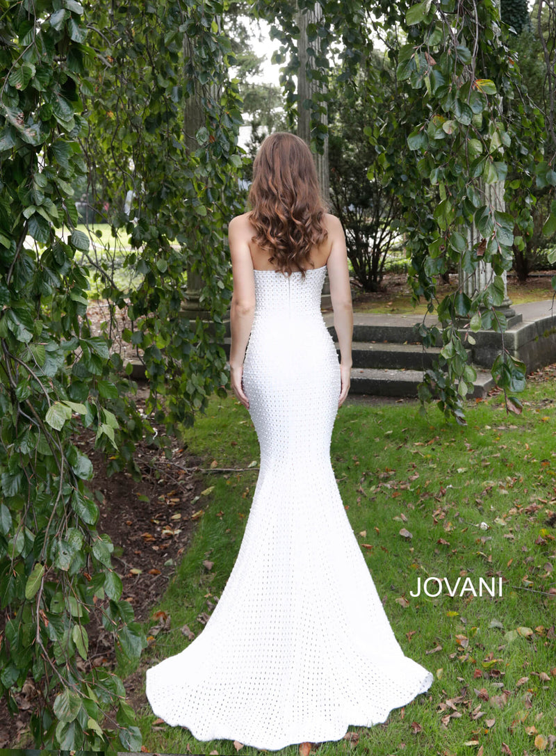 JOVANI 63393 Ivory Nude Strapless Form Fitting Wedding Dress - CYC Boutique