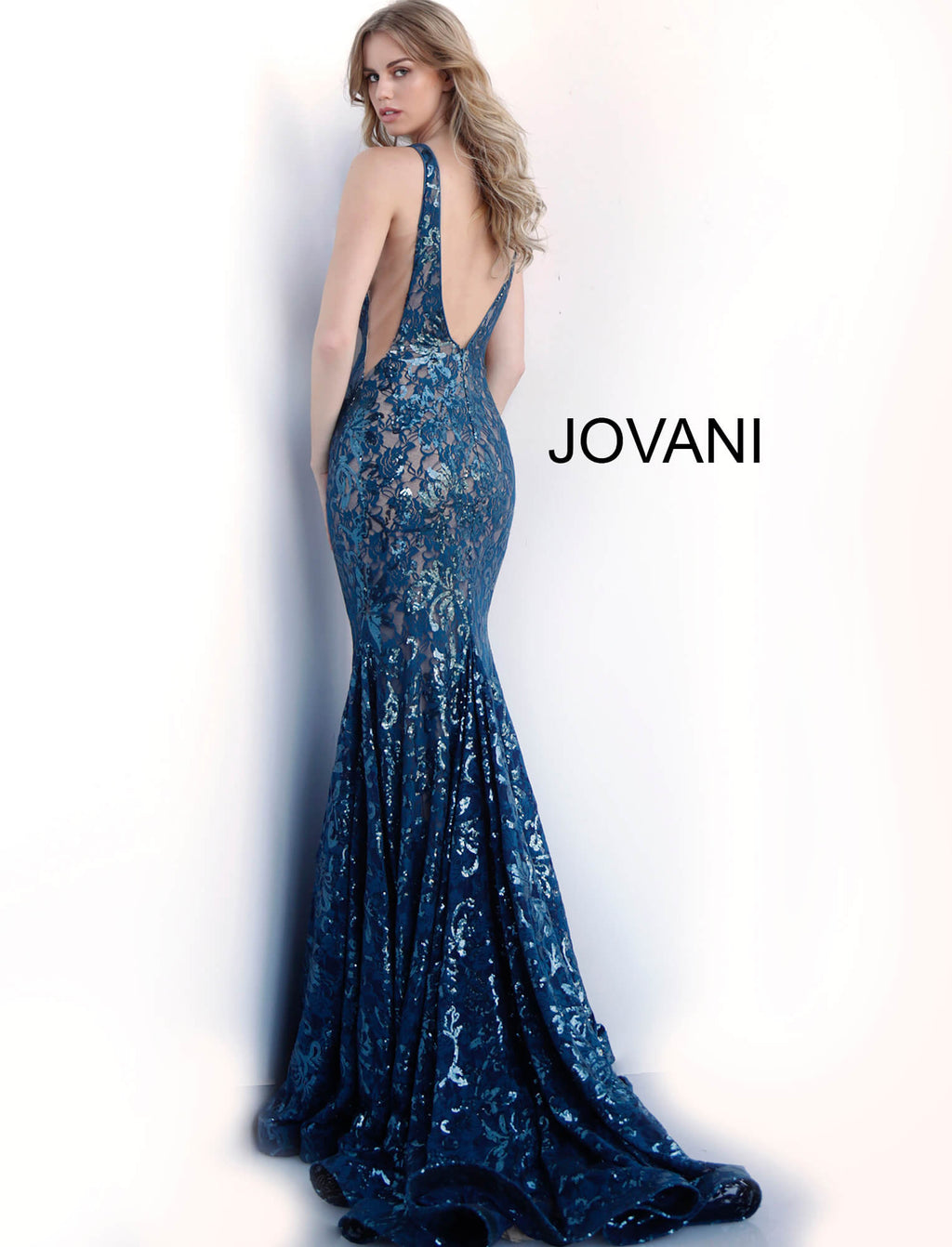 JOVANI 63437 Low V-Neck Embellished Evening Dress - CYC Boutique