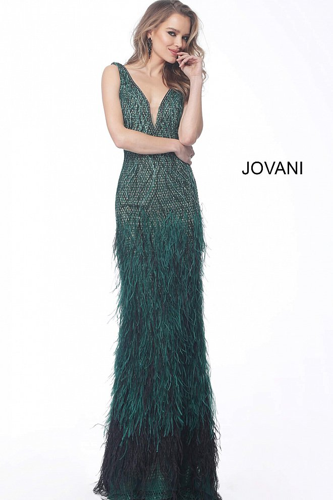 JOVANI 66003 Feather Bottom Embellished Evening Gown, Size 0 - CYC Boutique