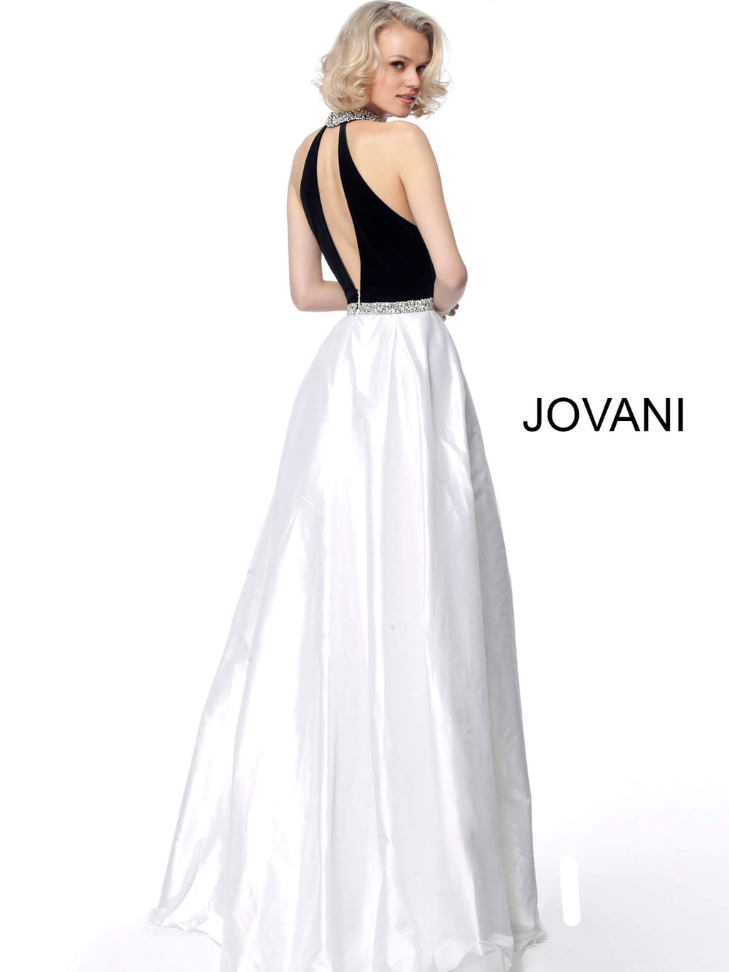 JOVANI 66295 Black White High Neck A Line Evening Dress 66295 - CYC Boutique