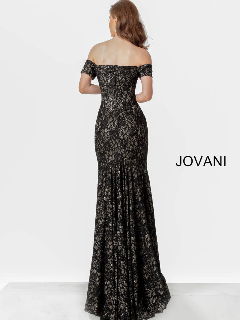 JOVANI 66305 Off the Shoulder Fitted Lace Evening Dress - CYC Boutique
