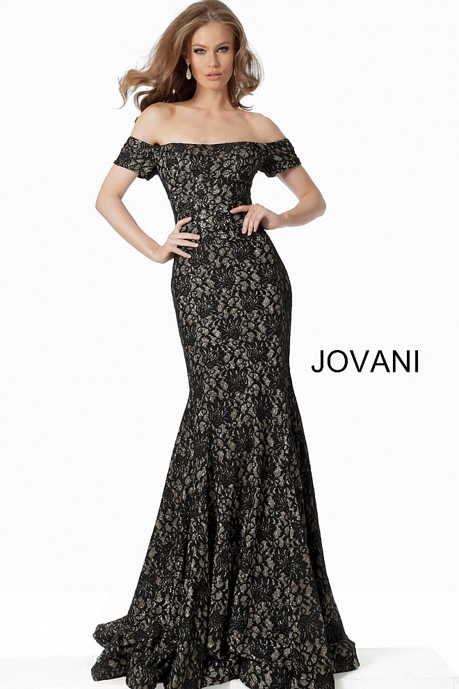 JOVANI 66305 Off the Shoulder Fitted Lace Evening Dress