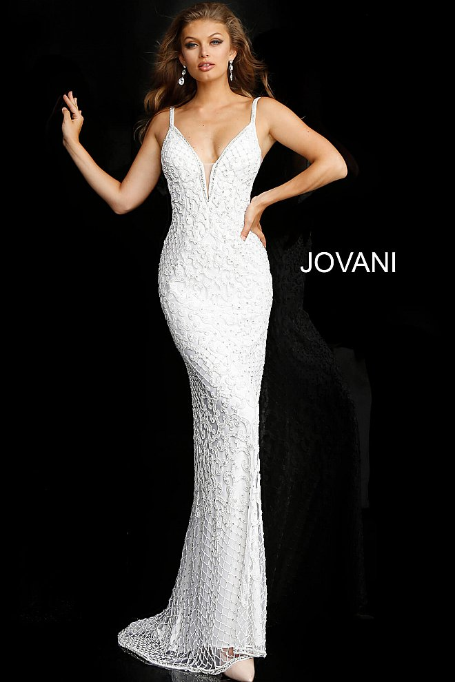 JOVANI 66765 Embellished Plunging Neck Bridal Dress - CYC Boutique