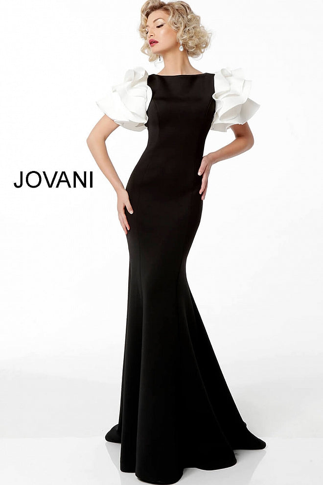 JOVANI 67119 Black White Ruffle Short Sleeve Evening Gown - CYC Boutique