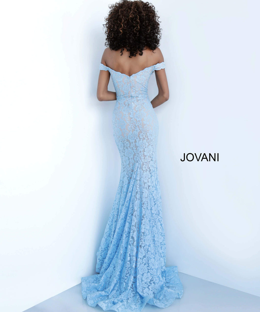 JOVANI 63704 Off Shoulder Lace Evening Dress