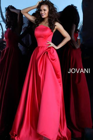 JOVANI 67730 Red Strapless Pleated Skirt Evening Gown - CYC Boutique