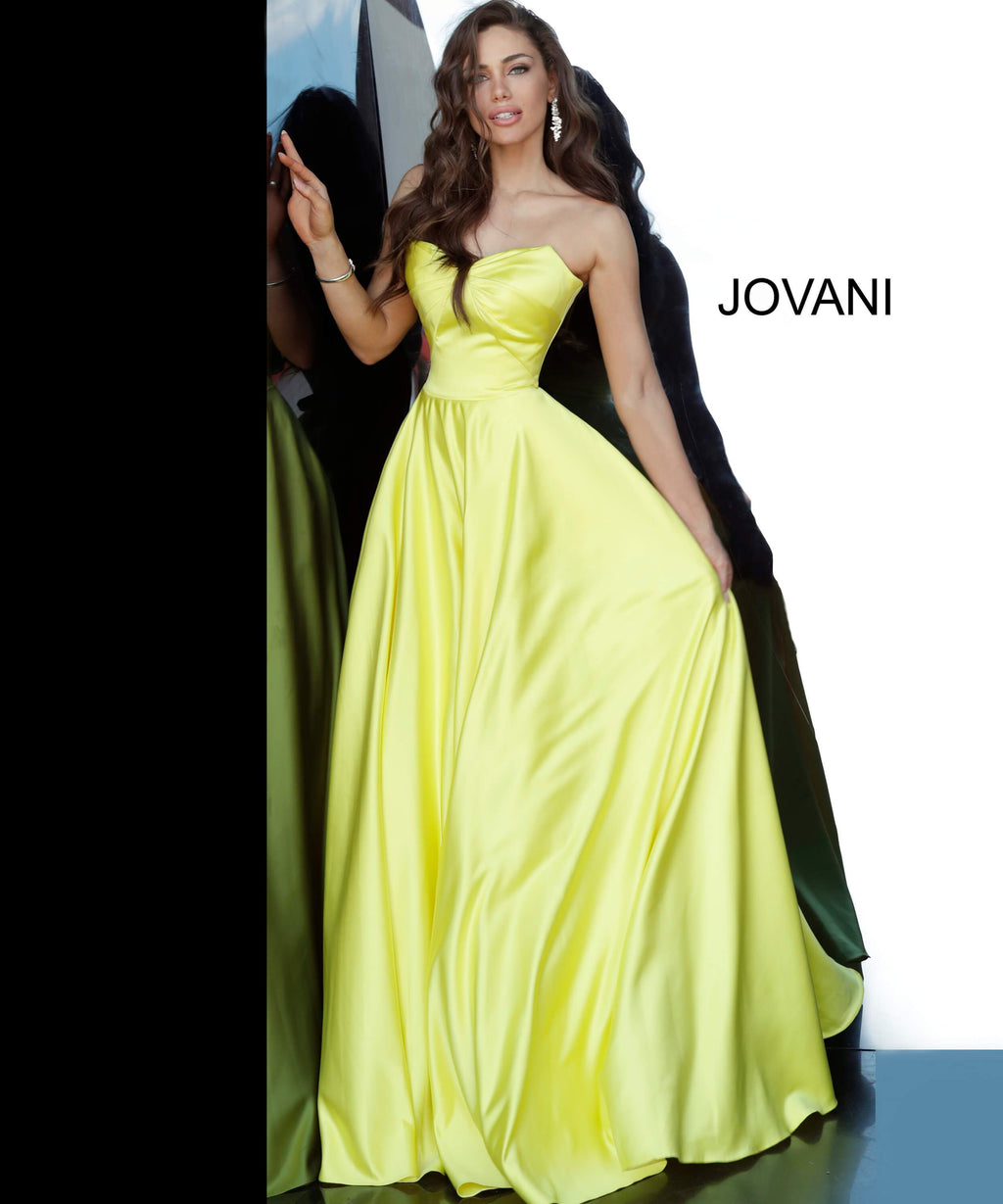 JOVANI 67847 Strapless Sweetheart Neckline Satin Evening Dress