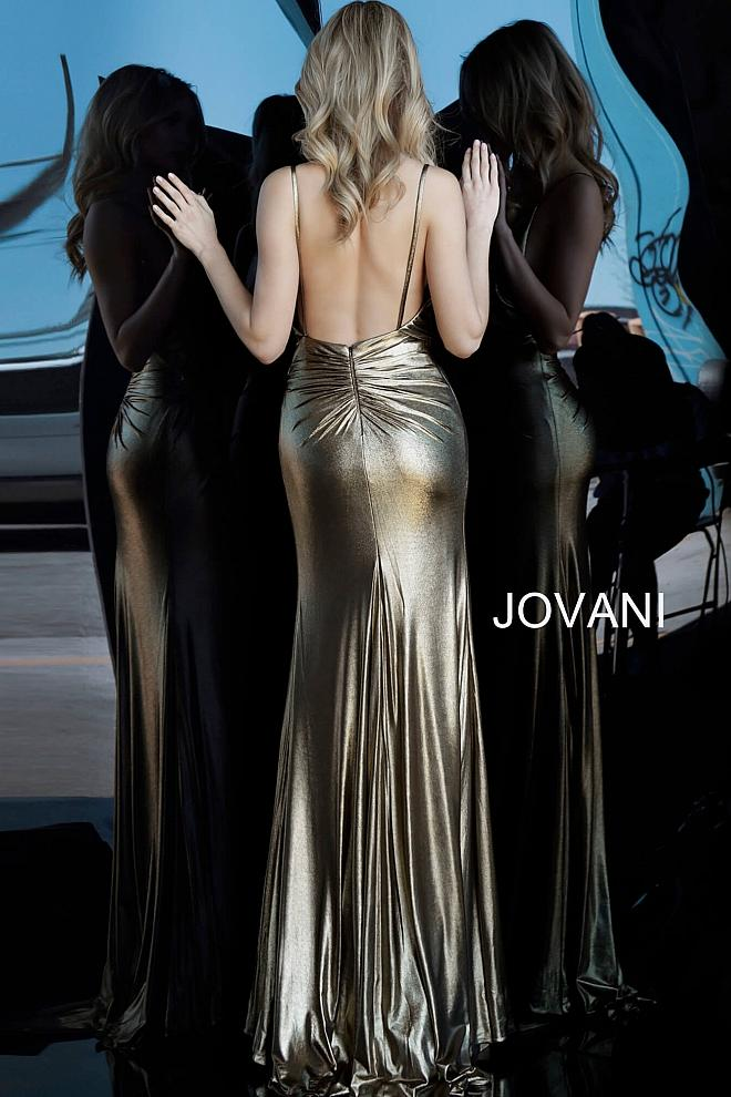 JOVANI 67934 Backless Metallic Prom Dress - CYC Boutique