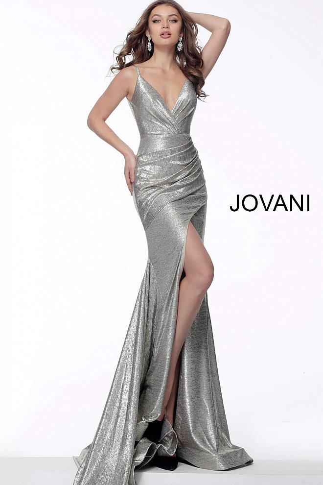 JOVANI 67977 V-Neck Front Slit Metallic Evening Dress