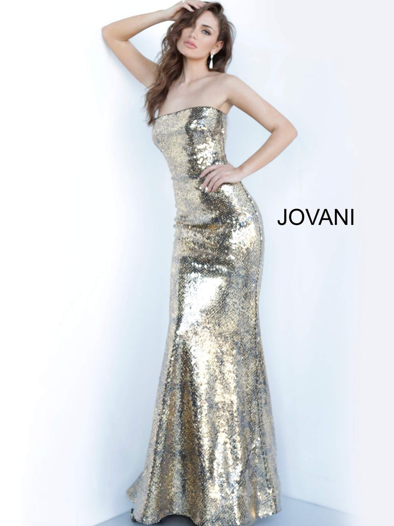 JOVANI 3390 Strapless Metallic Evening Dress - CYC Boutique