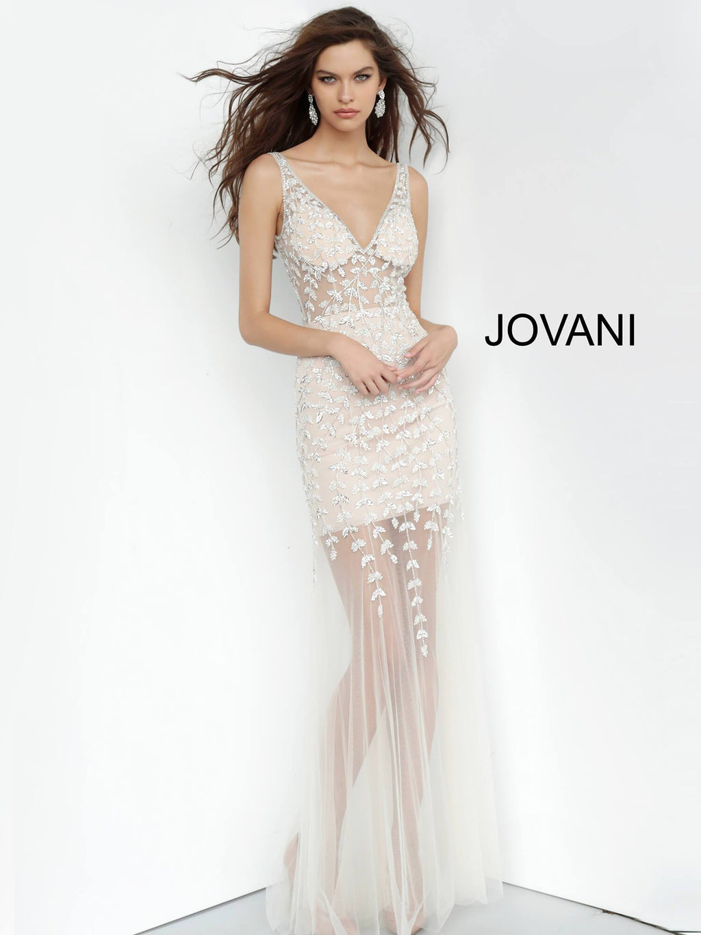 JOVANI 3959 Off White/Nude Beaded V-Neck Evening Dress
