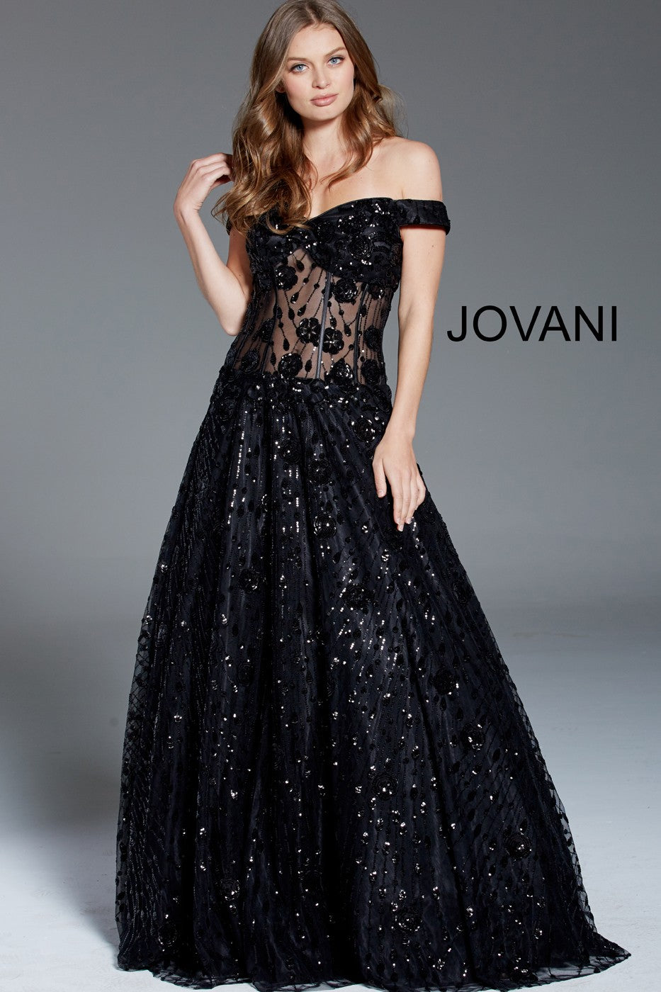 JOVANI 60814 Black Sequin Embellished Off the Shoulder Evening Gown