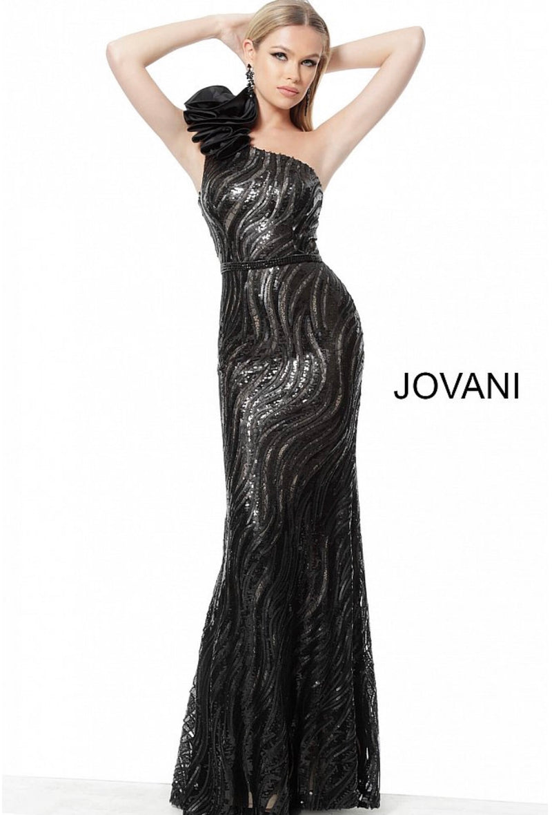 JOVANI 56095 Black One Shoulder Embellished Evening Dress - CYC Boutique