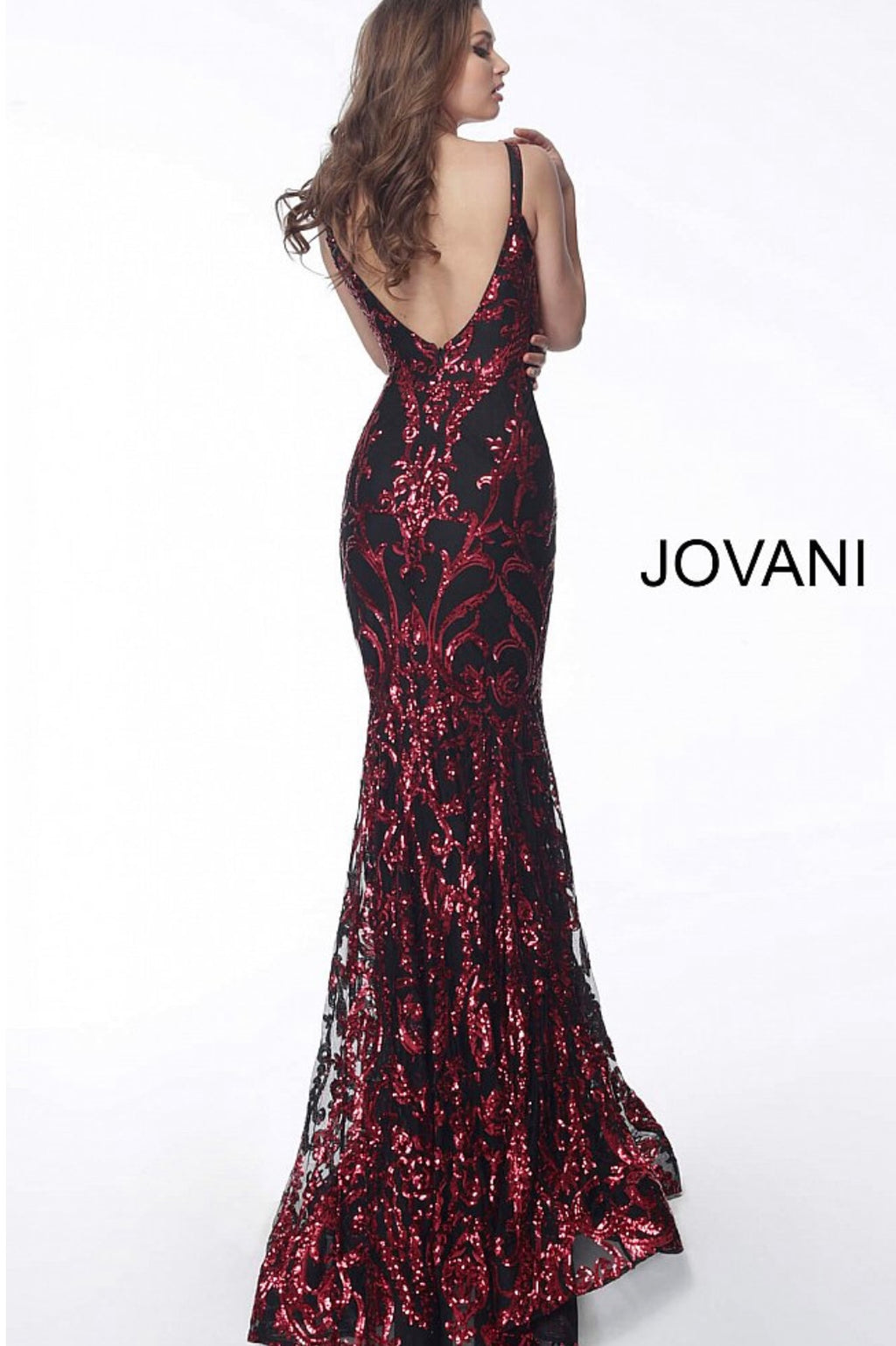 JOVANI 63350 Plunging Neck Fitted Embellished Evening Dress