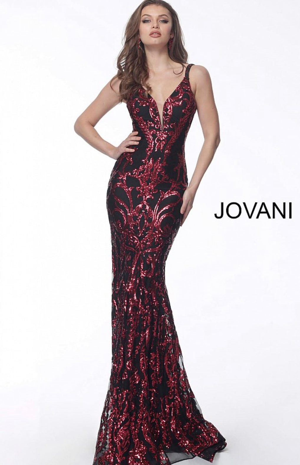 JOVANI 63350 Plunging Neck Fitted Embellished Evening Dress - CYC Boutique
