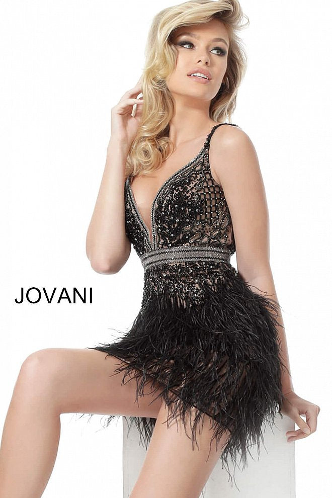 JOVANI 64266 Feather Skirt Cocktail Dress - CYC Boutique