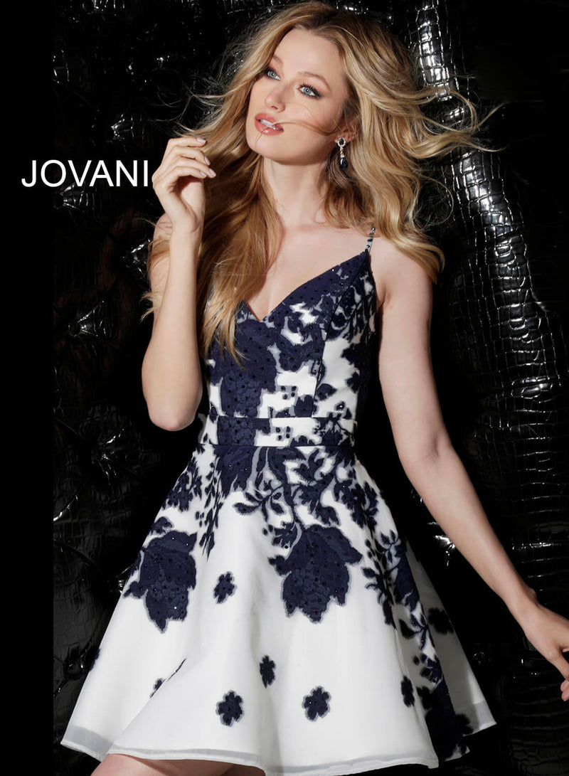 JOVANI 53204 Print Fit and Flare Cocktail Dress - CYC Boutique