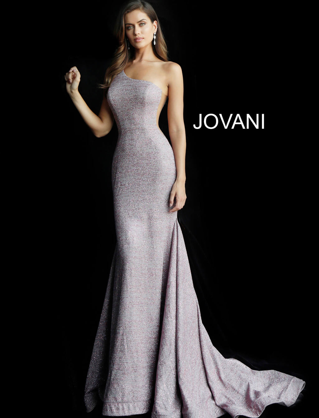 JOVANI 67650 One Shoulder Glitter Evening Dress - CYC Boutique