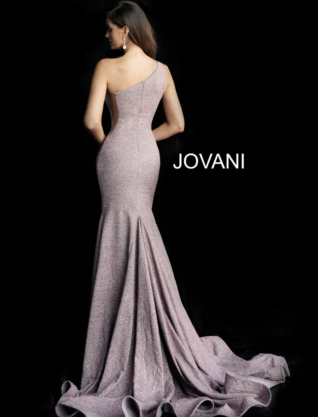 JOVANI 67650 One Shoulder Glitter Evening Dress