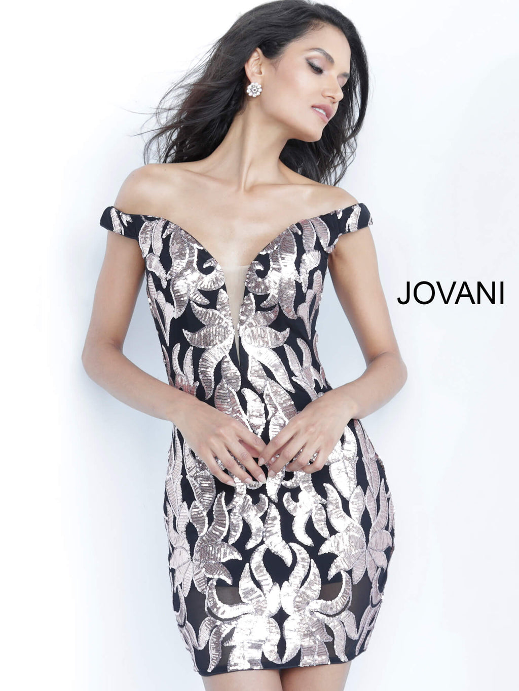 JOVANI 8004 Off Shoulder Cocktail Dress