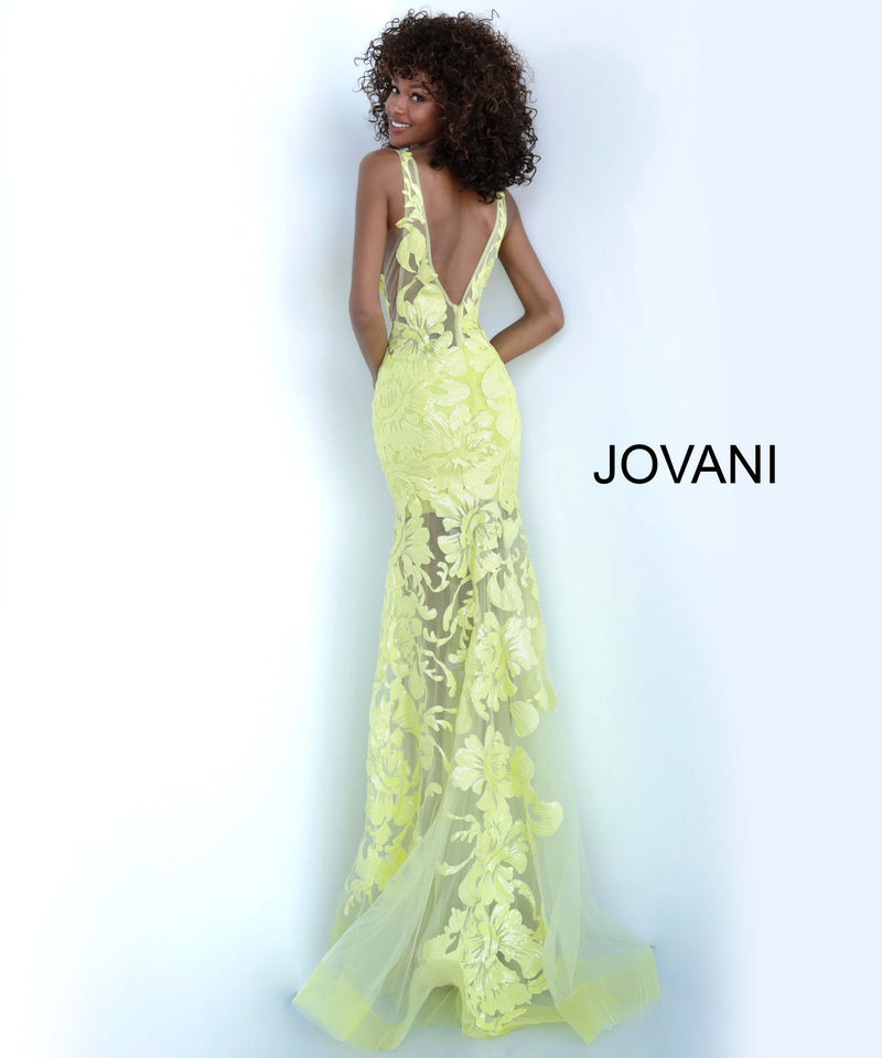 JOVANI 60283 Sequined V-neck Trumpet Dress