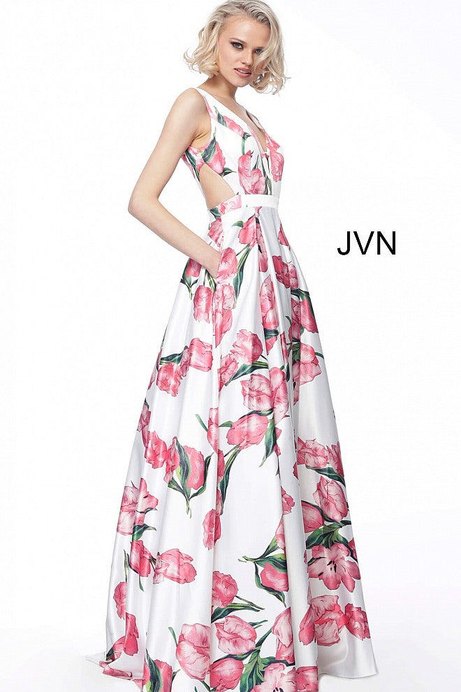JOVANI JVN60462 Print V Neck Satin Floral Evening Ballgown