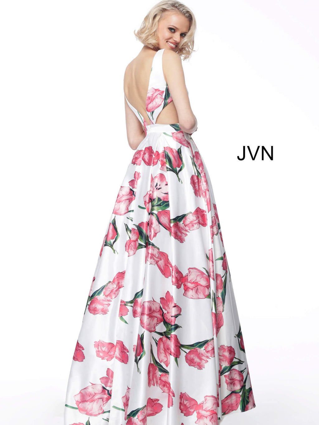 JOVANI JVN60462 Print V Neck Satin Floral Evening Ballgown - CYC Boutique
