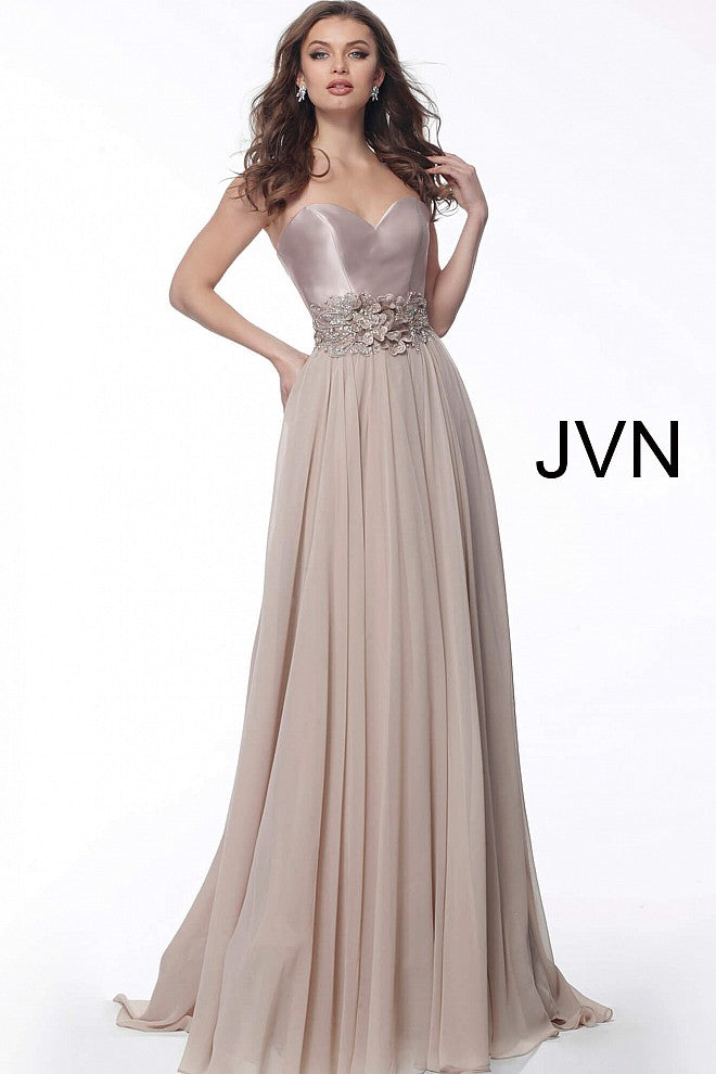 JOVANI JVN62406 Strapless Chiffon Evening Dress