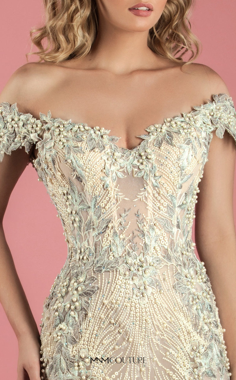 MNM Couture K3555 Beaded Off the Shoulder Dress - CYC Boutique
