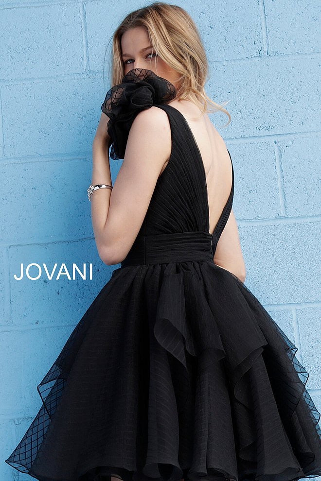 JOVANI 62641 Flare Plunging V-Neck Cocktail Dress - CYC Boutique