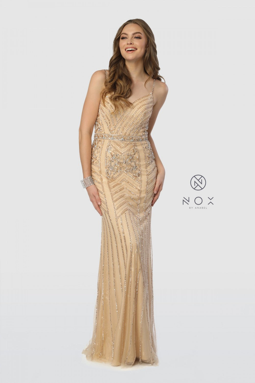 Nox Anabel T254 Beaded Evening Dress