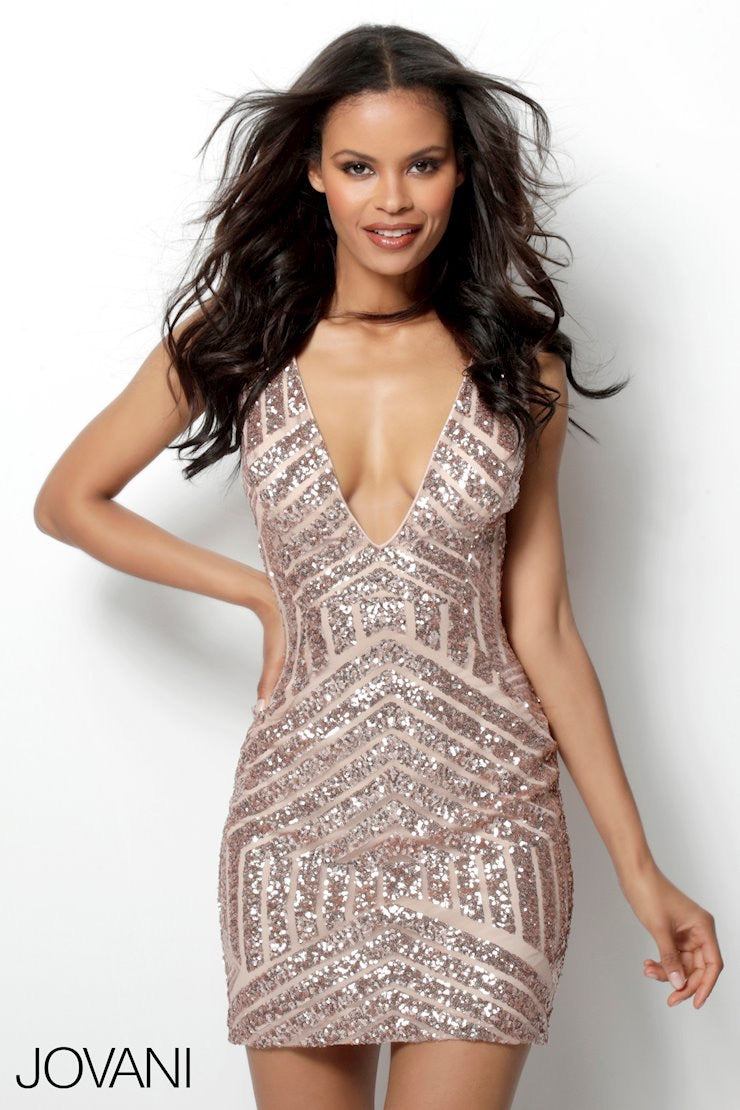 JOVANI 63899 Fitted Embellished Dress with Plunging Neckline - CYC Boutique