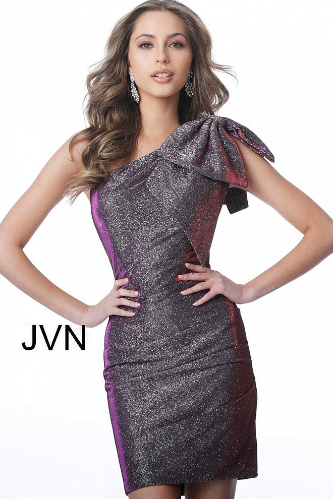 JOVANI JVN2132 One Shoulder Glitter Dress