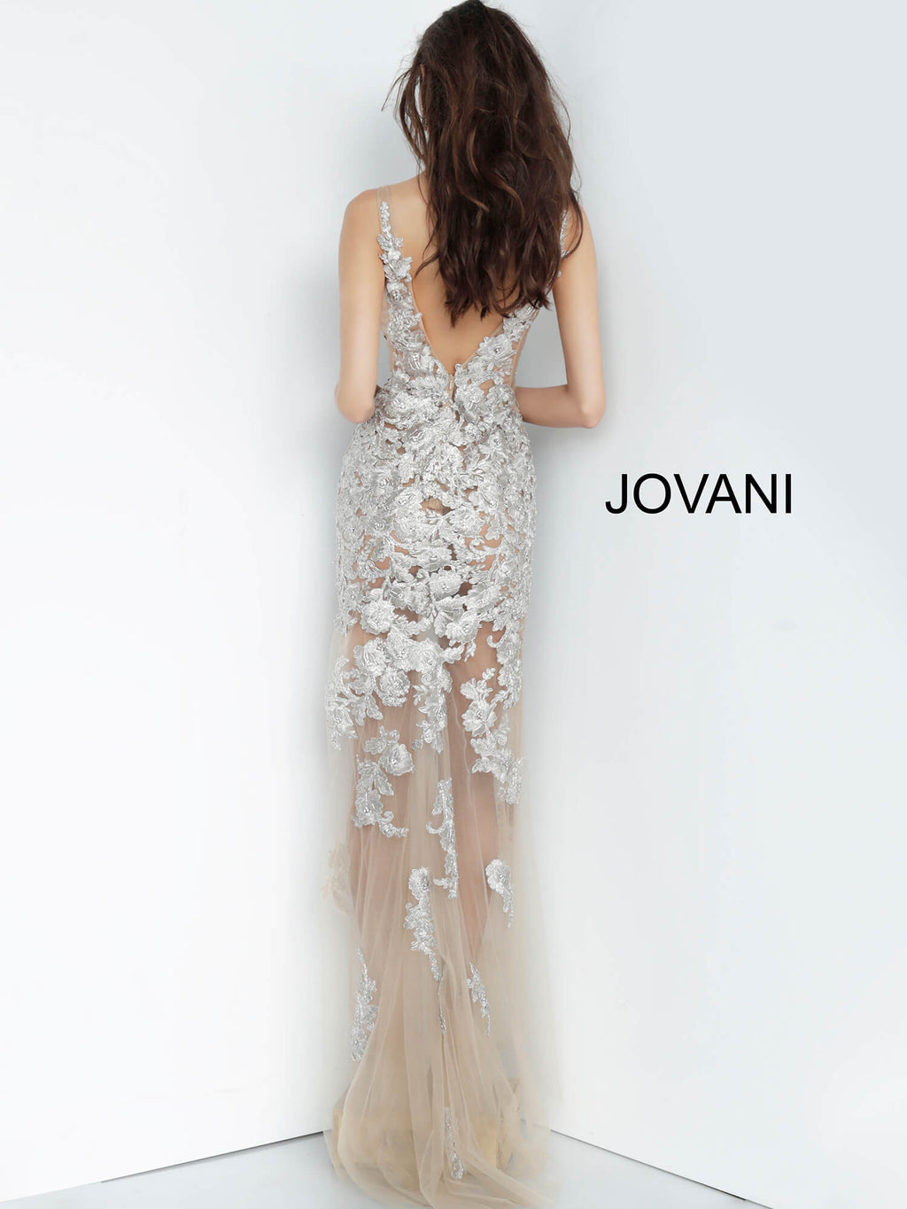JOVANI 4083 Plunging V-Neck Evening Dress