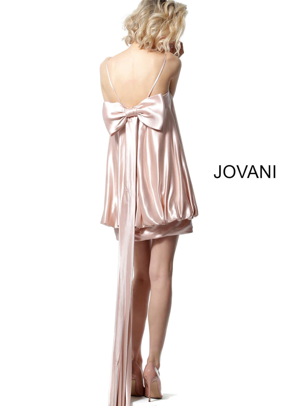 JOVANI 66431 Satin Baby Doll Dress
