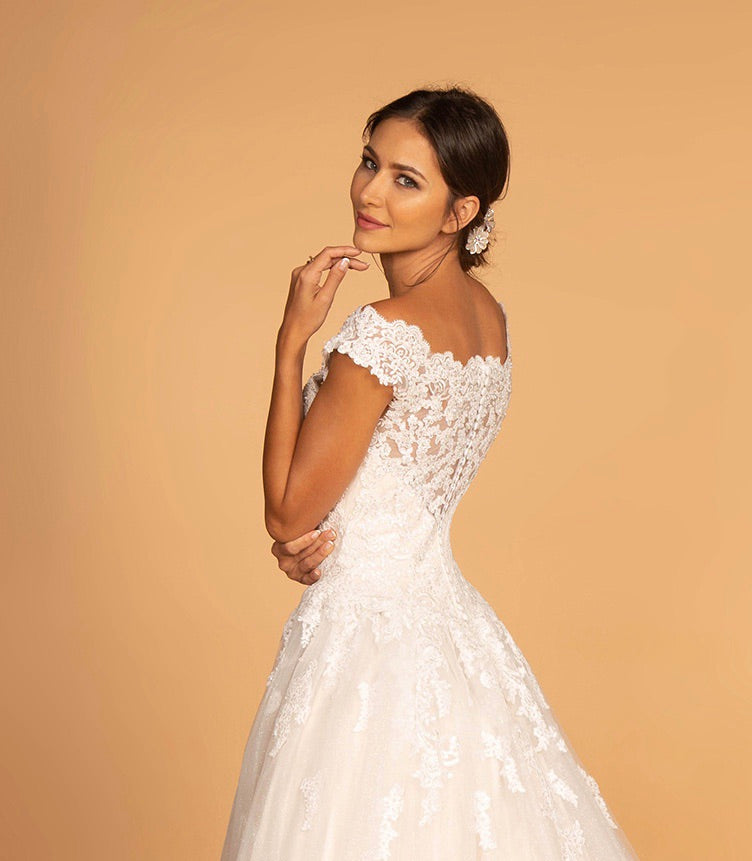 GLS by Gloria GL2596 Lace Cap Sleeve Wedding Gown - CYC Boutique