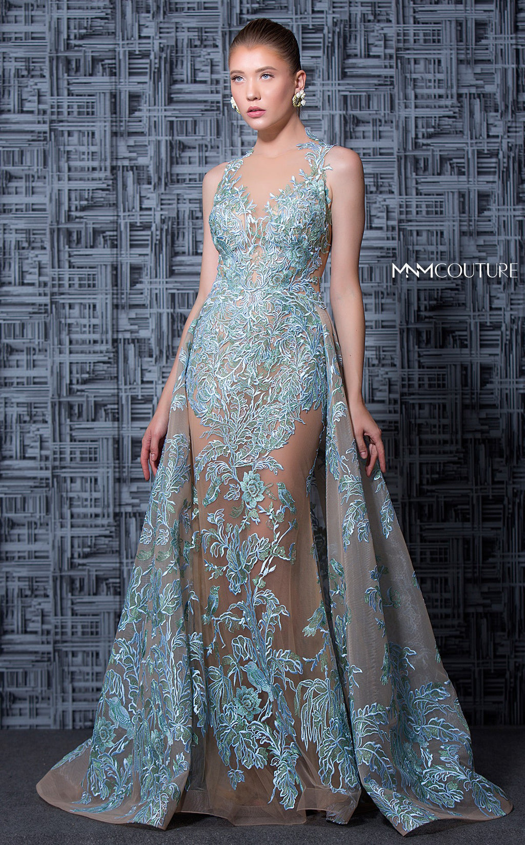 MNM Couture K3596 Embroidered Illusion Gown with Overskirt - CYC Boutique