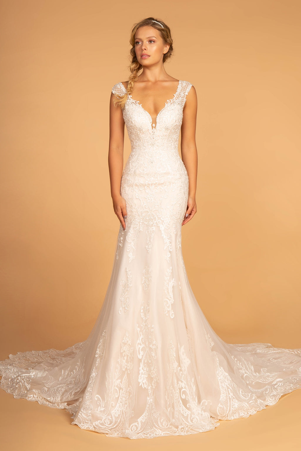 GLS by Gloria 2595 Embroidery Embellished Mesh Wedding Gown - CYC Boutique