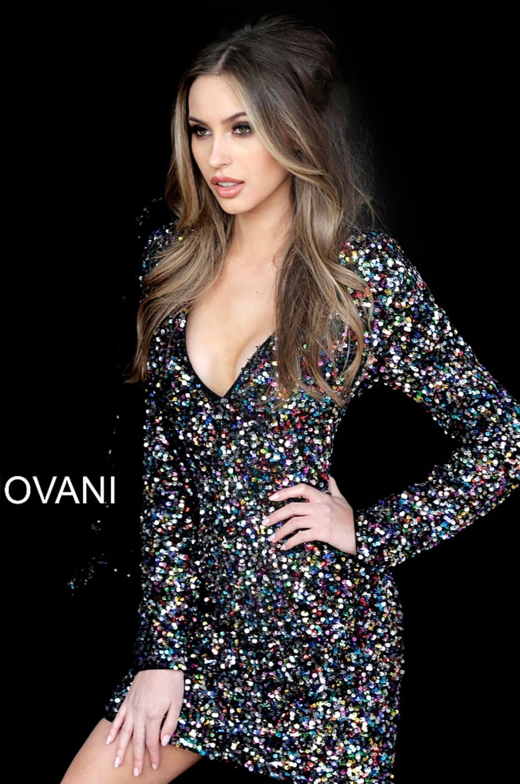 JOVANI 1899 Long Sleeve Sequined Cocktail Dress