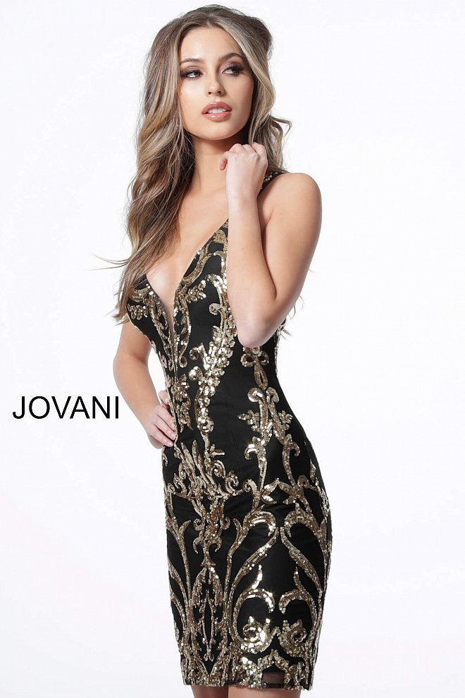 JOVANI 2667 Plunging Neckline Embellished Cocktail Dress - CYC Boutique