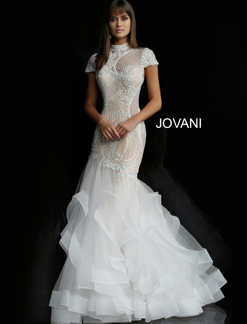 JOVANI 64139 High Neck Embellished Wedding Gown - CYC Boutique